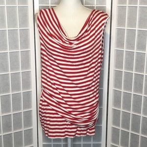 Cable & Gauge striped tank top cowl neckline XL